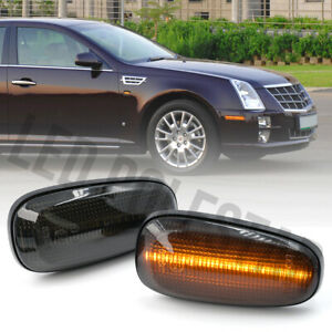 Smoked LED Fender Side Marker Signal Repeater Lamp for 05-11 Cadillac STS STS-V