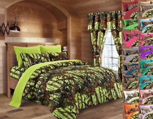 Cal King 7 pc Lime (Yellow) Woods Camo Comforter sheets and pillowcases set
