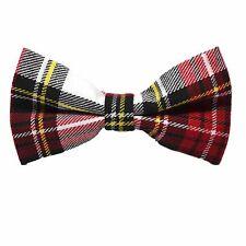Tradicional Blanco Y Rojo Tartán corbata de moño, cheque, cuadros