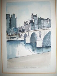 """LUDWIG BEMELMANS - ORIGINAL SIGNED WATERCOLOR PAINTING - """"Pont Marie"""" - Madeline"""