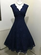 GORGEOUS JOLIE MOI LACE NAVY  FIT AND FLARE MIDI EVENING DRESS SIZE 16