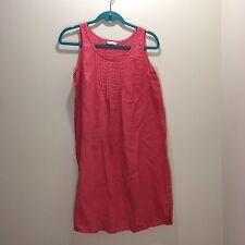 Garnet Hill Pintuck Flax Summer Linen A-Line Tank Dress Pink Size 12