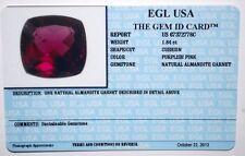 EGL USA CERTIFIED NATURAL ALMANDITE GARNET CUSHION PURPLISH PINK 1.84 CT