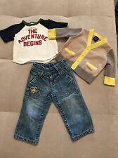 Baby Gap Boy Outfit Set Cardigan Jeans Shirt Size 3-6 Month Aviators Club