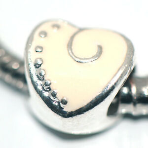 1x Heart Bead Charms Spacer Silver Fit Eupropean Chain Bracelet Making Jewelry