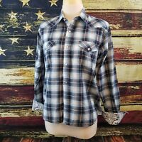 Cowboy Legend Womens Long Sleeve Snap Up Blue Yellow Plaid Western Shirt XL