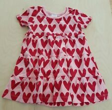 NWT HANNA ANDERSSON TIERED TWIRLY PINK HEARTS TWIRL POWER DRESS 80 18-24 months