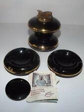 Vtg Evans Bone China Tabletop Lighter & Ashtray Black Gold Tone Trim 4 Piece Set