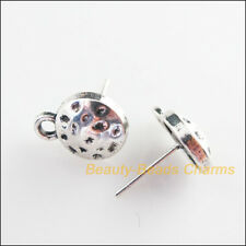 2Pcs Tibetan Silver Tone Round Wire Earrings Hooks Findings 15mm
