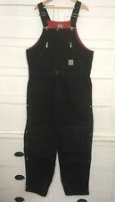 CARHARTT Duck Canvas Insulated Overalls Bib Black 36 X 30 Double Knee Workwear