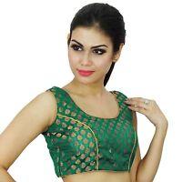 Ready-Made Choli Weaving Saree Indian Wedding Party Wear Women Blouse Crop- Top