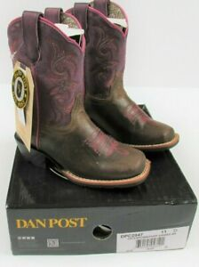 Dan Post Majesty Brown/Purple Girl's Size 11D Cowboy Cowgirl Boots