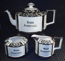 Rare Sadler England Happy Anniversary  silver gilt 3 piece Tea Set 1930 s