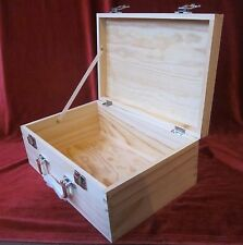 SOLID PINE WOODEN BOX  WITH CARRY HANDLE DECOUPAGE MULTI USE CRAFT 30*20*12