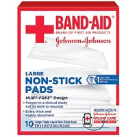 BAND-AID First Aid Non-Stick Pads, Large, 3 in x 4 in, 10 ea (Pack of 3)