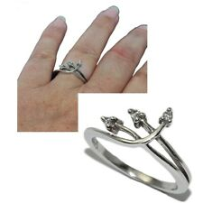 Zirconium White T 54 Jewel Ring Delicate Sterling Silver 925 Trilogy