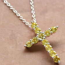 8d90eab51280 Cross Design Gorgeous Shiny Natural Golden Citrine Gems Silver Necklace  Pendants
