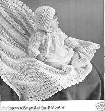 Vintage Knitting patterns-how to make popcorn pattern baby christening shawl,set