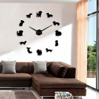 Wall Clock Mirror Dog Home Decor Modern 3d Diy Sticker Dachshund Surface Design