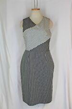 RACHEL ROY Dress Size 12 LARGE Black White Stripe Open Back V neck Stretch Lined