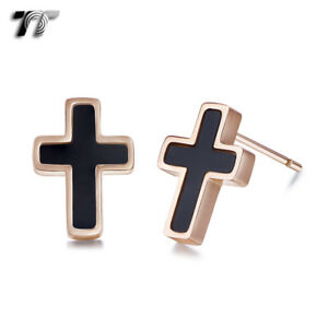 TT 9K Rose Gold S.steel Black Mother Pearl Cross Earrings (EC114D) NEW