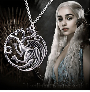 NEW Game of Thrones Daenerys Targaryen Khaleesi Silver Queen of Dragons Necklace