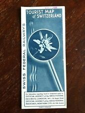 Vintage Tourist Map SWITZERLAND 1934 Swiss Federal Railways