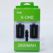 2X 2800mAh Batteries Kit for Xbox One Wireless Controller Black with USB Cable