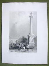 CANADA Quebec Nelson's COlumn - 1841 Engraving Print by BARTLETT