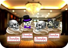 Halloweeen Skull Skeleton Mix 12 Edible STANDUP  Cake Toppers Decoration Scary