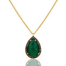 925 Silver Emerald, Pave Diamond Chain Pendant Necklace Fashion Jewelry