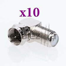 LOT x10 90 Degree Right Angle F Male Female Connector Adapter Coaxial RG6 RG59