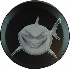 """SpareCover® ABC Series - Great White Shark 30"""" Heavy black vinyl tire cover."""