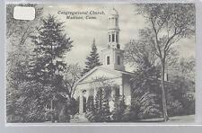Congretional Church Madison Connecticut Black&White Linen Postcard Used 1950'S