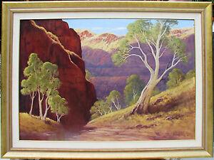 Leonard Long large original oil titled ' Wittenoom Gorge, Western Australia'