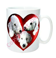 1 x Bedlington Mug with 2 Hearts on with 3 Bedlington Terriers Mothers Day Gift