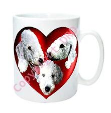 1 x Bedlington Mug with 2 Hearts on with 3 Bedlington Terriers Birthday Gift