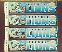 4 Vintage DETROIT LIONS FOOTBALL BUMPER STICKER LOT WinCraft NOS 13x3""