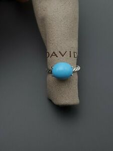 David Yurman 12x10mm Oval Turquoise Silver Stack Ring Size 8