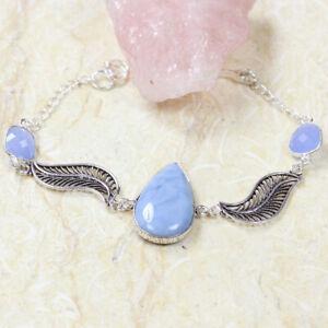 "Ohyee Blue Opal 925 Silver Plated Handmade Gemstone Bracelet of 8"" Ethnic Gift"