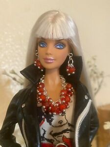 Handmade Jewelry for Barbie Chunky Red Beads Necklace and Earrings