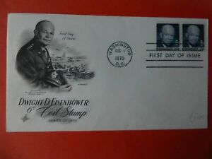 First Day of Issue  Dwight D Eisenhower Washington Aug 6th 1970 6cents x 2