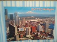 VINTAGE PHOTO POST CARD AERIAL VIEW KING DOME HEART OF SEATTLE WA