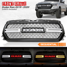 Front Grill For 2019-2020 Ram 1500 Truck With Red LED Letter & Sequential signal