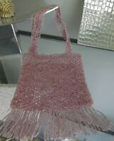 DUSTY PINK BEAD WOVEN FRINGED BAG, EVENING, GLASS BEADS, BEAD WEAVING  BRAND NEW