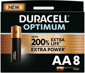 8x Duracell Optimum AA Batteries Extra Life 200% Extra Power