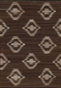 Kilim Geometric Afghan Modern Oriental Area Rug Wool Hand-Woven Brown Carpet 5x7