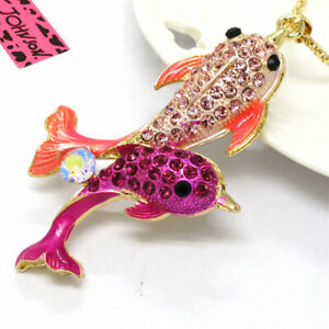 Hot Betsey Johnson Cute Pink Enamel Dolphin Pearl Crystal Pendant China Necklace