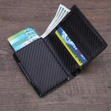 Auto Credit Card Holder Leather RFID Blocking Metal Wallet Money Clip for Men