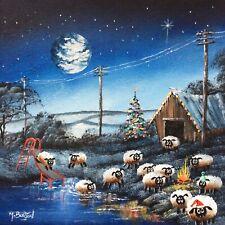 MAL.BURTON ORIGINAL OIL PAINTING. CRAZY CHRISTMAS SHEEP NORTHERN ART DIRECT NEW